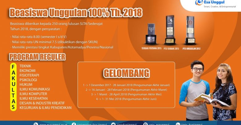 Beasiswa Unggulan 100 % Untuk S1 Tahun 2018 di Universitas Esa Unggul Jakarta